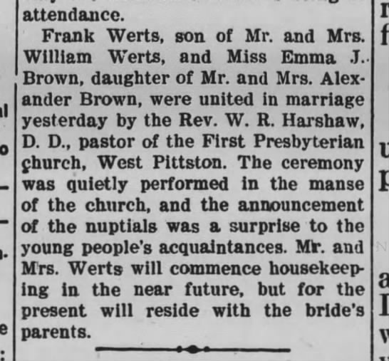 - attendance. Frank Werts, son of Mr. and Mrs....