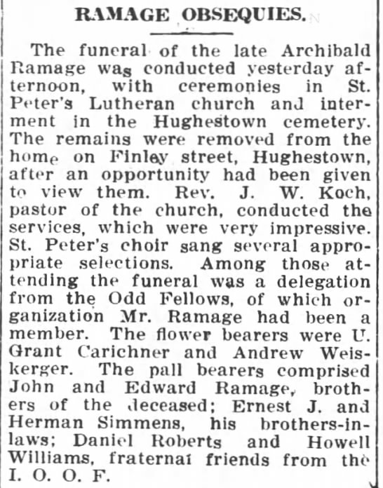 Pittston Gazette, 8 NOV 1909, p. 3 - RAMAGE OBSEQUIES. The funeral of the late...