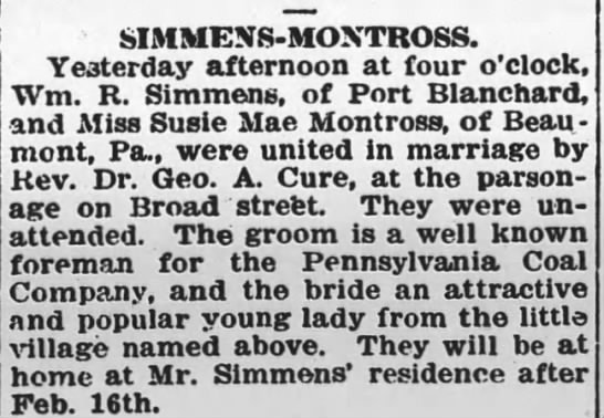 Pittston Gazette, 13 FEB 1913, p. 5 - SIMMENS - MOXTROSS. Yesterday afternoon at four...