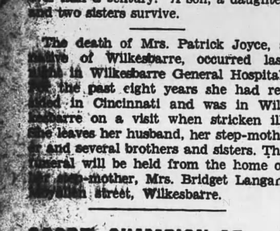 Anna Langan Joyce Obit 1931 - v and iwo sisters survive. Th death of Mrs....