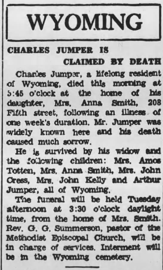 Charles Jumper 1935 - WYOMING CHARLES JUMPER IS CLAIMED BY DEATH...
