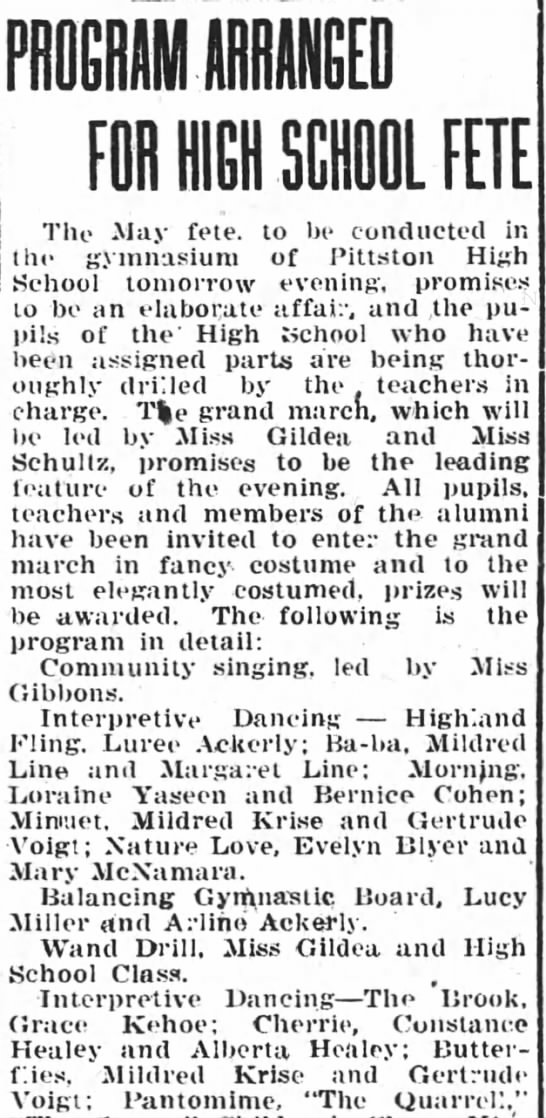 Pittston Gazette, 15 MAY 1919, p. 3 - FOR HICH SCHOOL FETE The May fete, to be...