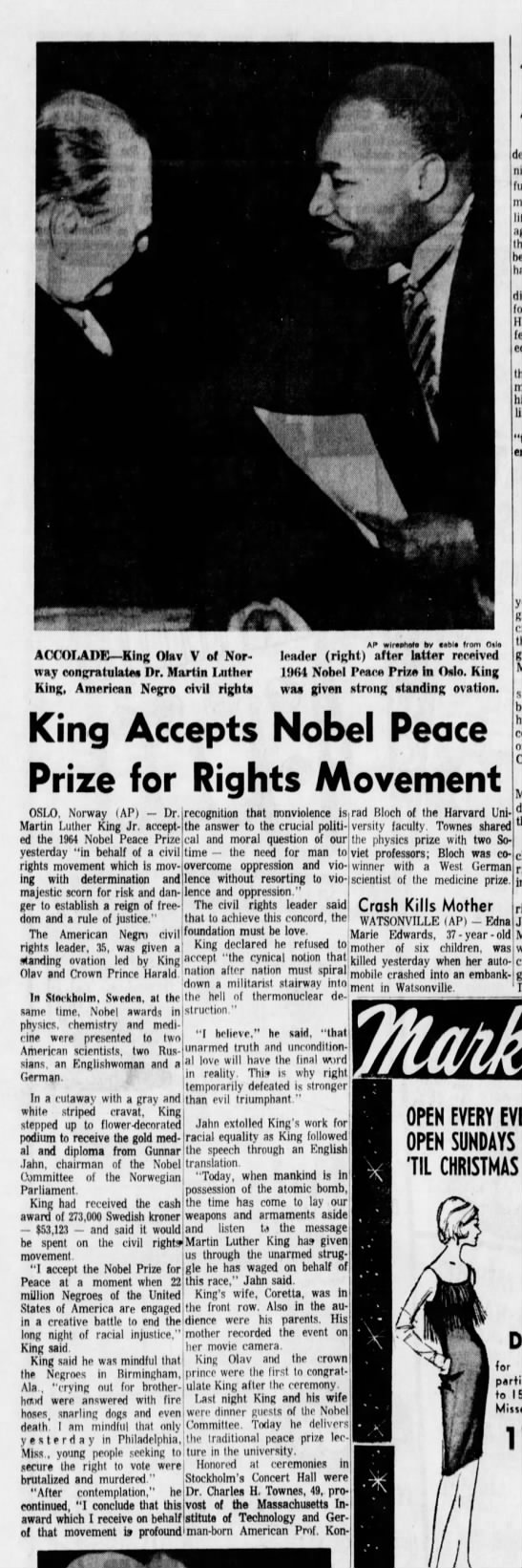 Dec 1964: M.L. King Jr. accepts the Nobel Peace Prize - sJ , A he ACCOLADE King Olav V of Norway Norway...
