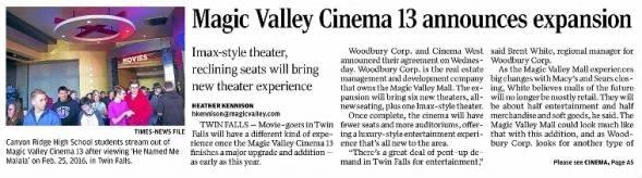 Magic Valley Cinema 13 expansion announcement