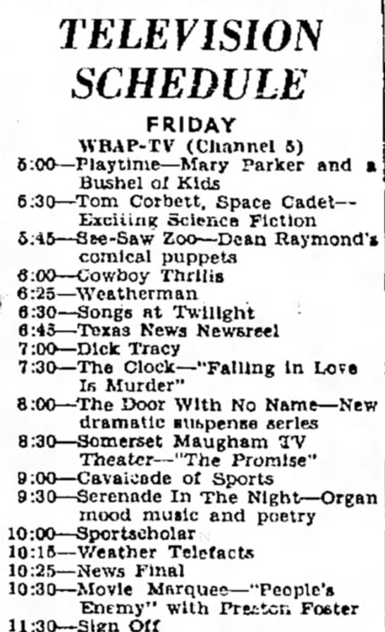 playtime - TELEVISION SCHEDULE FRIDAY WRAP-TV (Channel B)...