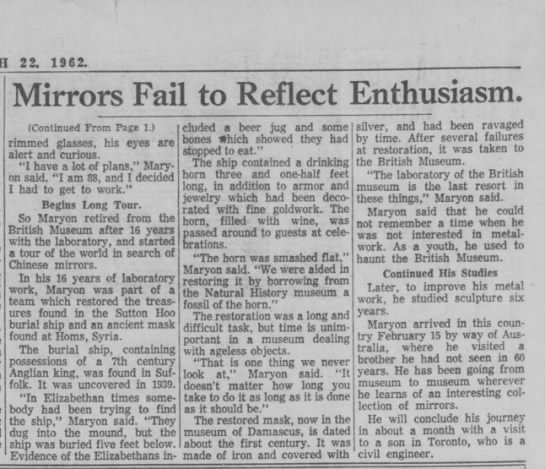 Herbert Maryon write-up p.2, The Kansas City Times, 22 March 1962 - 22 . 1962. Mirrors Fail to Reflect Enthusiasm....