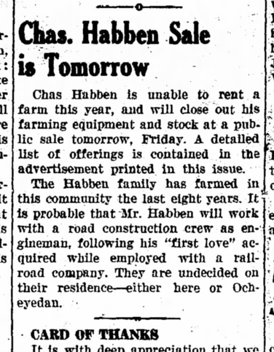 Charles Habben, Poss. Mom's Brother - the parents at 11: Lake Her will Is mother....