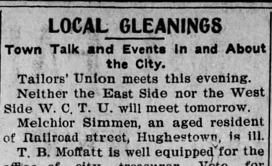 Pittston Gazette, 15 FEB 1904, p. 3 - LOCAL GLEANINGS Town Talk. and Events in and...