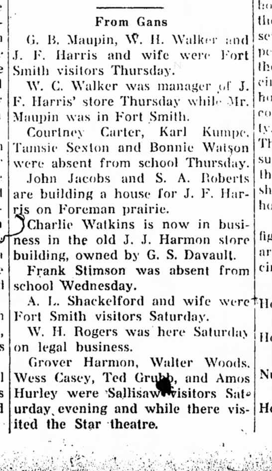 J.J. Harmon, A.L. Shackelford and wife, Grover Harmon- news from Gans. - Hs on F'oreman prairie, JCharlie Watkins is now...