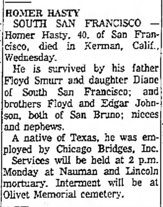 Homer Hasty obituary - HOMER HASTY SOUTH SAN FRANCISCO - Homer Hasty....