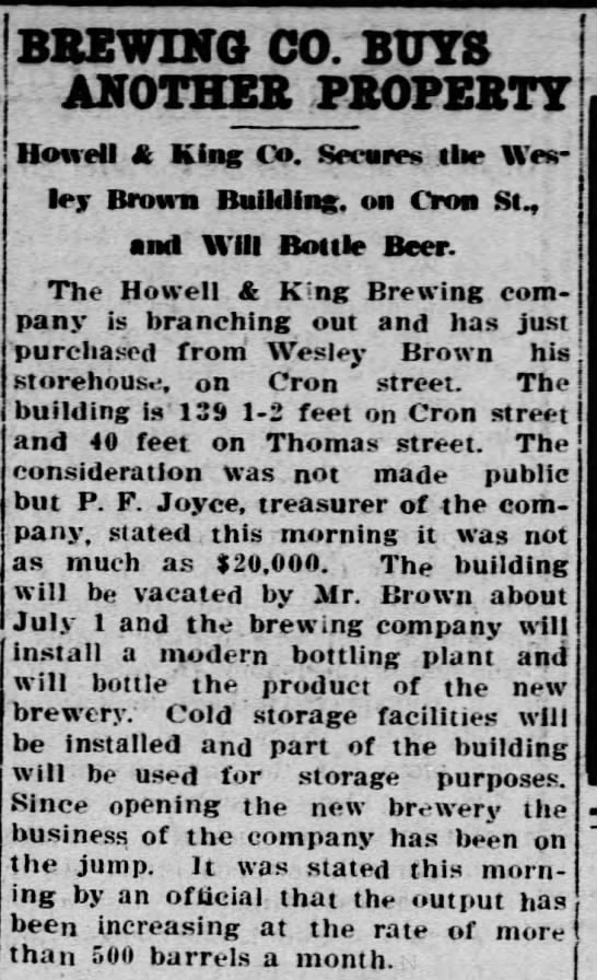 Union Brewery12a - BREWING CO. BUYS ANOTHER PROPERTY Howell King...