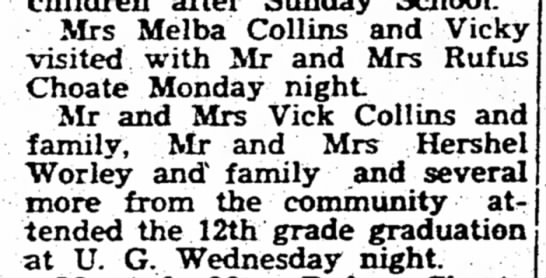 Collins, 21 Apr 1960 - Mrs Melba Collins and Vicky visited with Mr and...