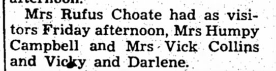 Collins, 19 May 1960 - Mrs Rufus Choate had as visitors visitors...