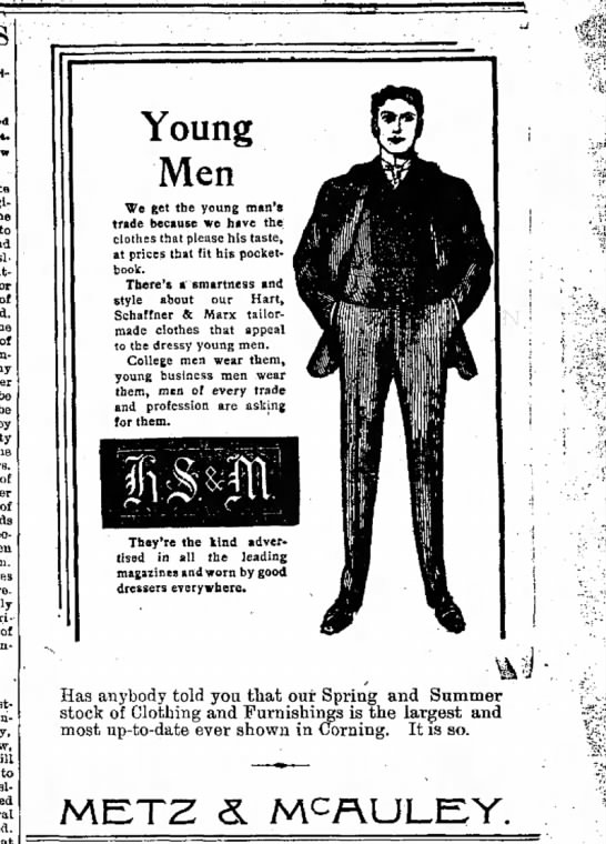 Clothing ad geared toward young men (Iowa, 1900) - Brlitow of tte originally the to and island,...