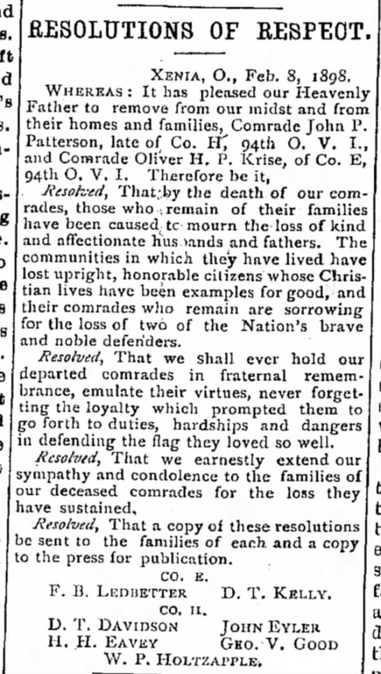 Ohio, Krise, Oliver H P - .RESOLUTIONS OF RESPECT. XENIA, O., Feb. S,...