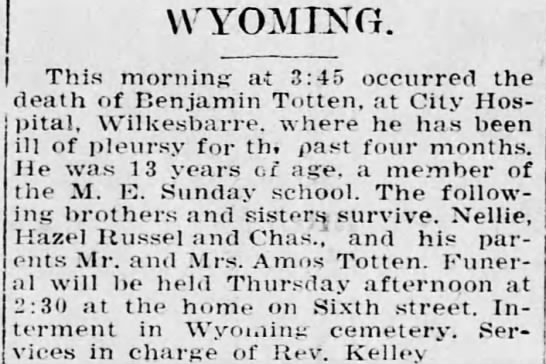 Benjamin totten 1916 - WYOMING. I This morning at 3:45 occurred the...