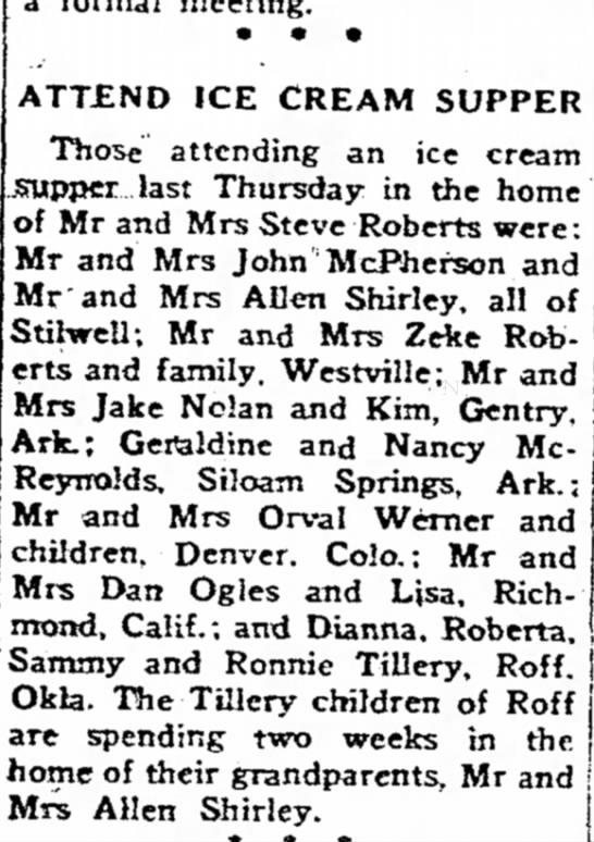 10 Aug 1972, Jake - ATTEND ICE CREAM SUPPER Those attending an ice...