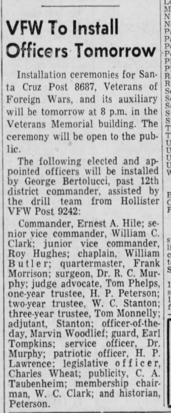 VFW Officer of the Day, Marvin Woodlief 15 April 1958 - VFW To Install Officers Tomorrow Installation...