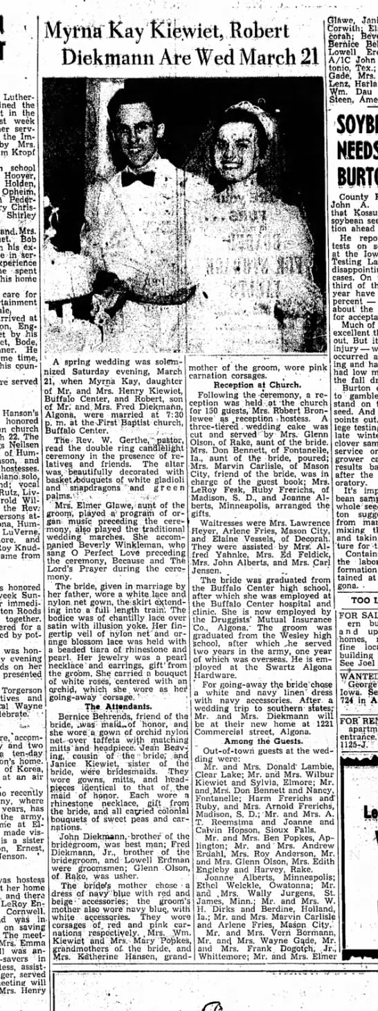 Kossuth Co. Advance310Mar 1953 - Lutheran the in the week served the Imperial...