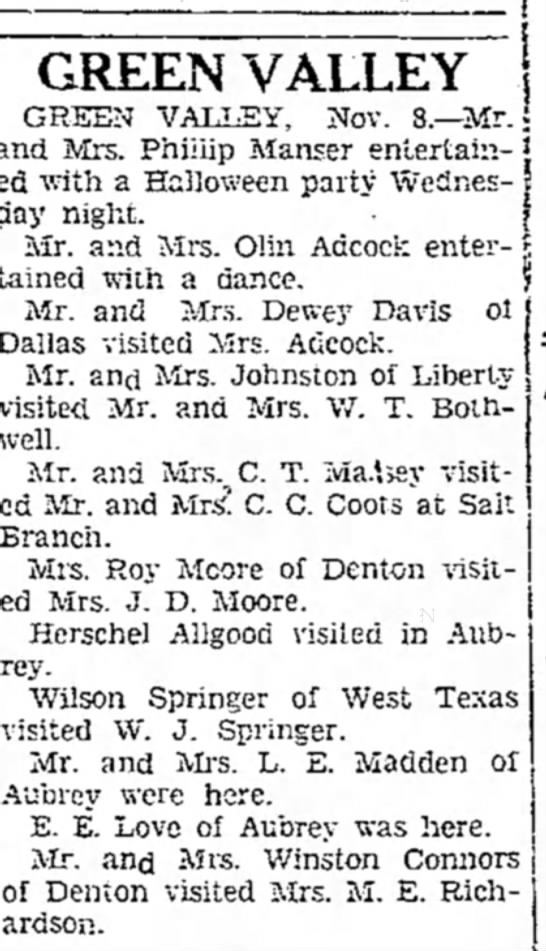 Wilson Springer, West Texas, visits W.J. Springer, Green Valley, Texas - GREEN VALLEY GREEN VALLEY, Nov. 8.—Mr. j and...