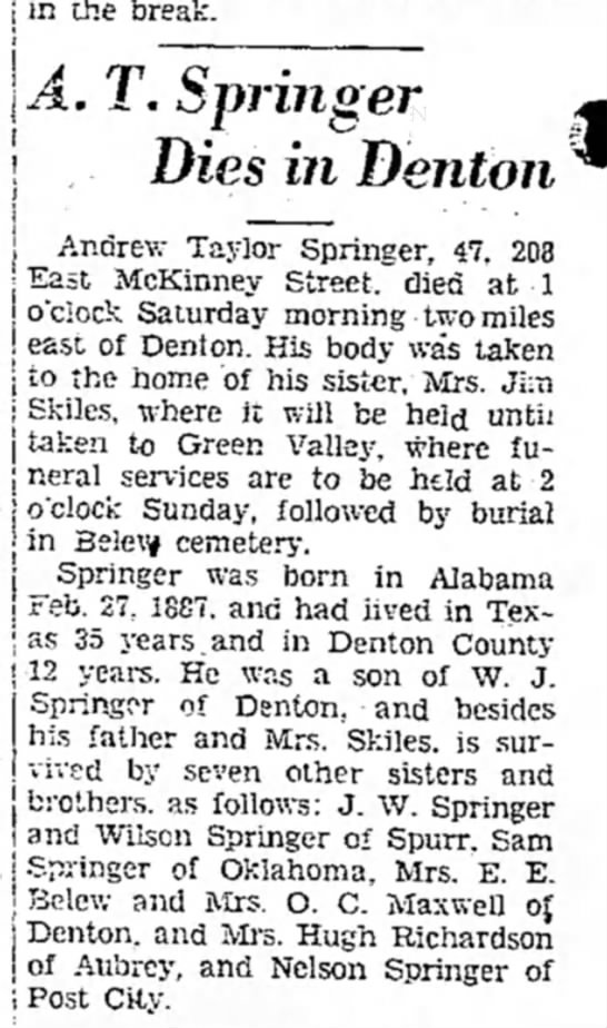 Andrew Taylor Springer obituary - in the break. A. T. Springer Dies in Denton j...