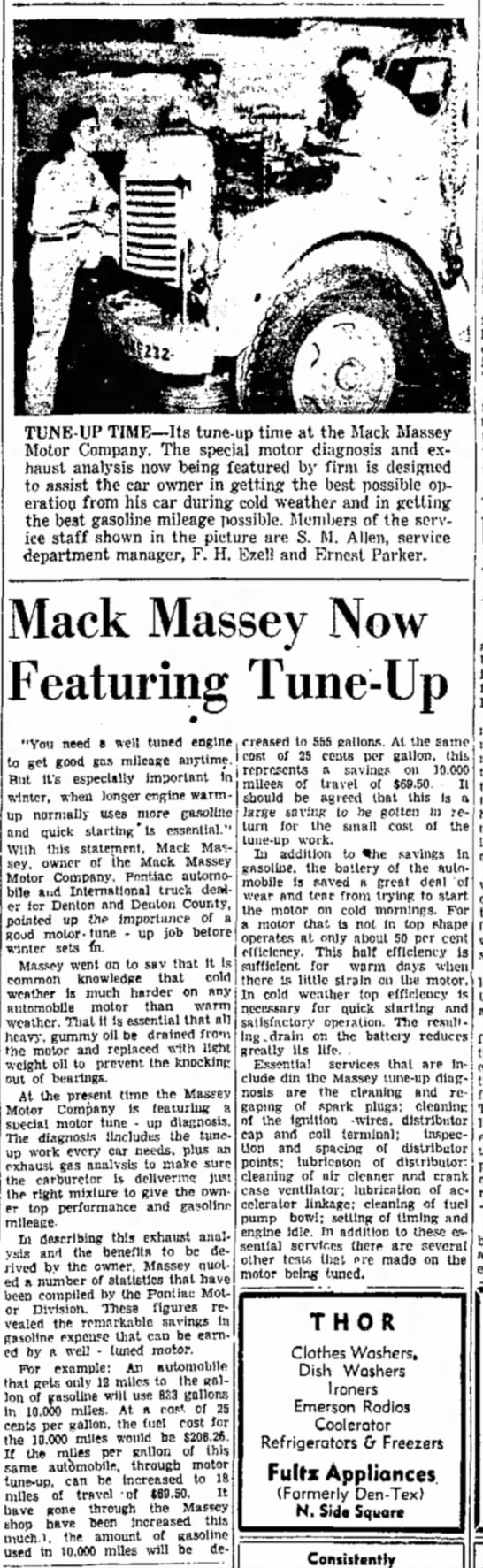 Mach Massey Motors 1948 - TUNE-UP TIME—Its tune-up time at the Mack...