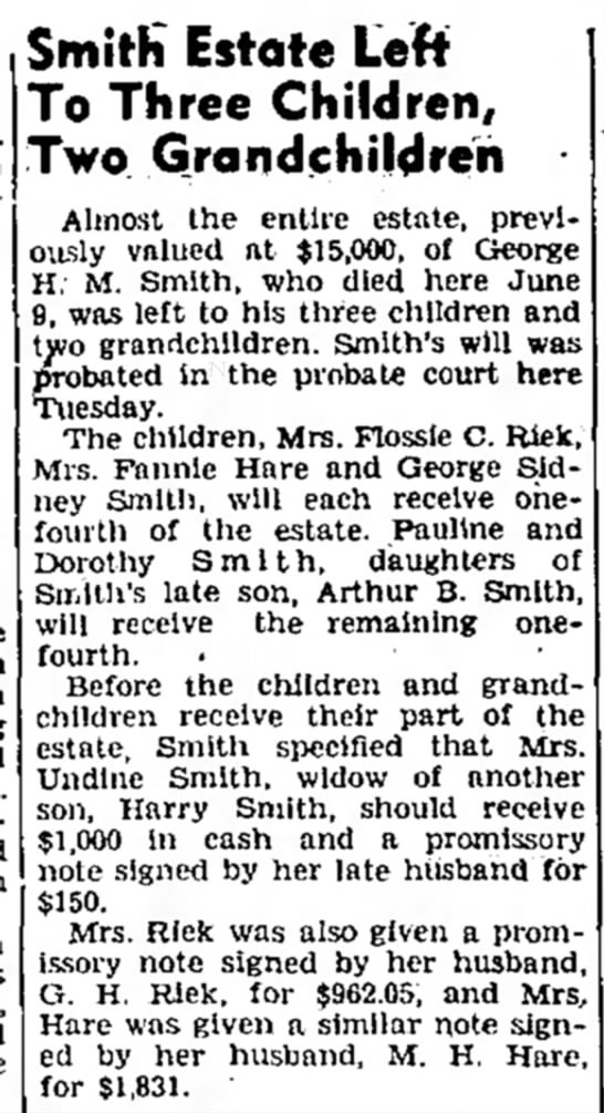 Denton Record-Chronicle July 4,1945 - Smith Estate Left To Three Children, Two...