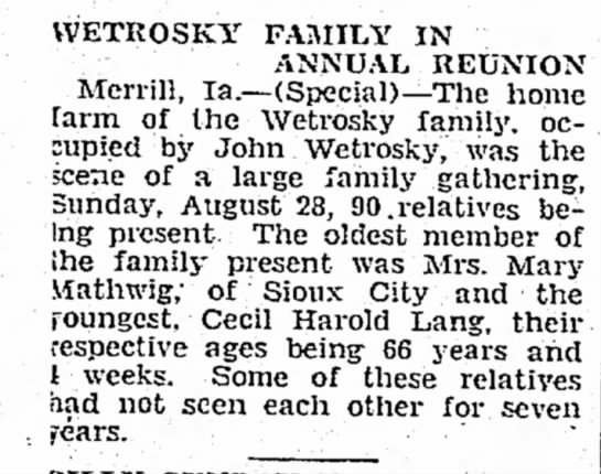 The Terril Record Terril, Iowa 8 September 1932 Page 6 - VVETROSKY FAMILY IN ANNUAL REUNION Merrill,...
