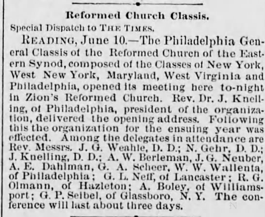zion reformed church 1884 - Reformed Church Classis, Special Dispatch to...