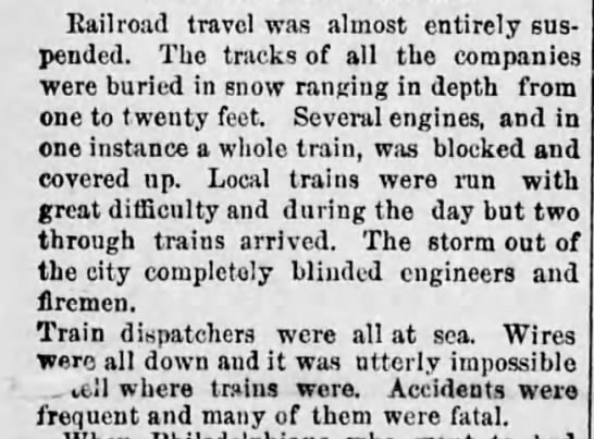 Great Blizzard of 1888 - Railroad travel was almost entirely suspended....
