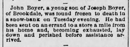 Great Blizzard of 1888 - John Boyer, a young son of Joseph Boyer, of...
