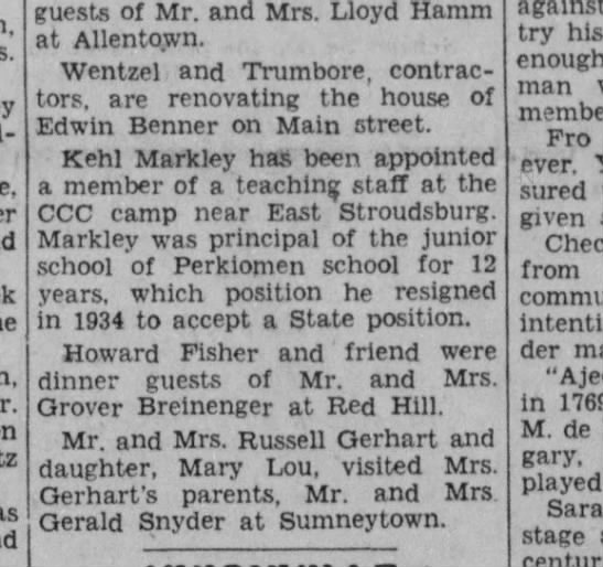 CCC - guests of Mr. and Mrs. Lloyd Hamm at Allentown....
