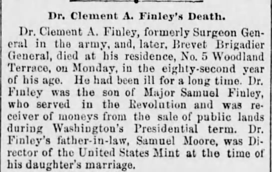 Dr. Clement A. Finley's Death