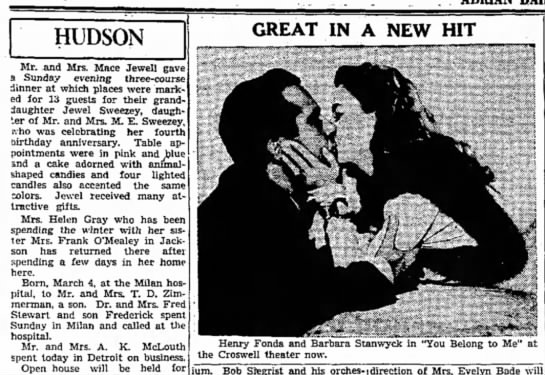 Milan Hospital - HUDSON Mr. and Mrs. Mace Jewell gave a Sunday...