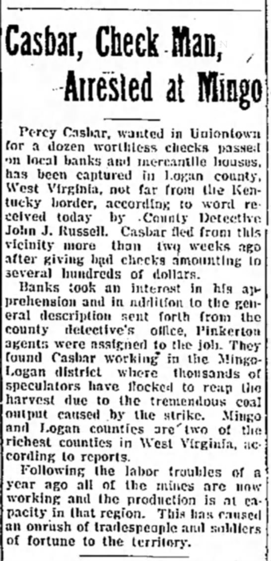 percy casbar arrested page 2 the evening standard june 10 19222 - Casbar, Check fflan, Airesled al Pc-rcy Caslur,...