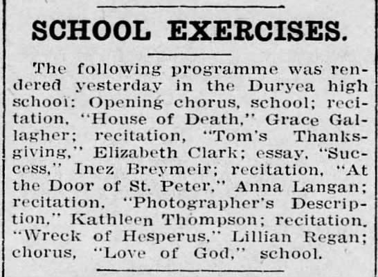 - SCHOOL EXERCISES. The following programme was...
