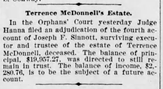 McDonnell Terrence - Terrene McDonnell's Estate. In the Orphans'...
