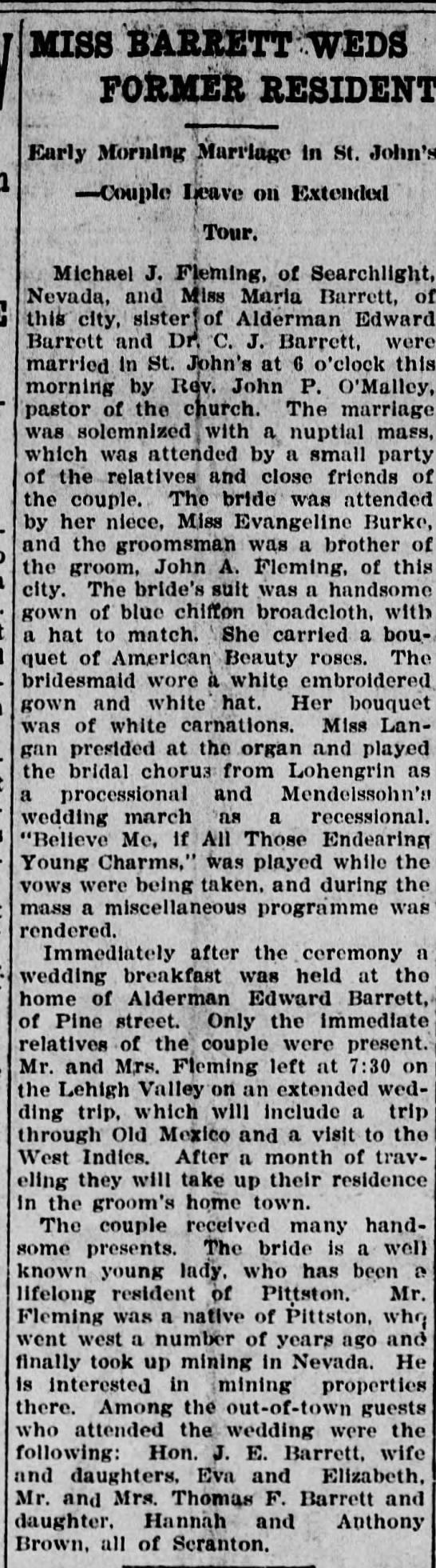 Maria Barrett wedding to Michael Fleming; Pittston Gazette; 3 October 1906 - - - ' I MISS BARRETT WED FOilUER RESIDENT I...