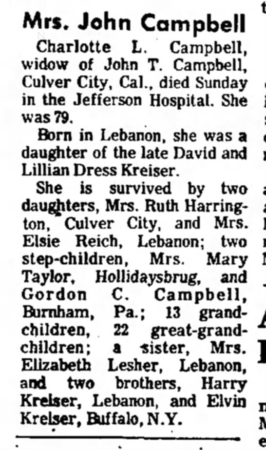 - Mrs. John Campbell Charlotte L. Campbell, widow...