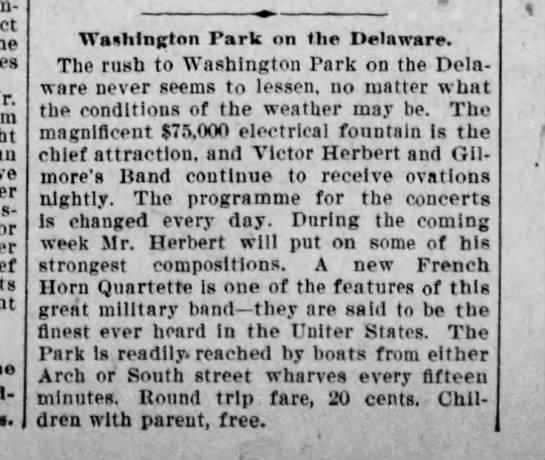Finest ever heard--Gilmore Quartet--V. Herbert - Washington Park on the Delaware. The rush to...