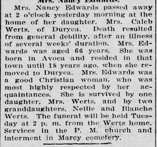 - Mrs. Nancy Edwards passed away at 2 o'clock...