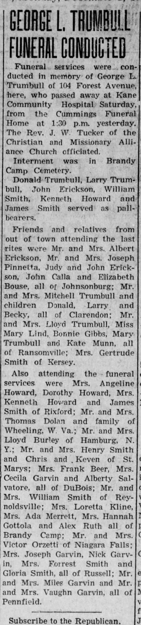 George - t. .. Funeral , services were ',. conducted...