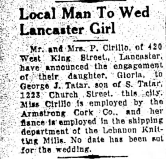 - Local Man To Wed Lancaster Girl Mr. Mlfl Mrs....