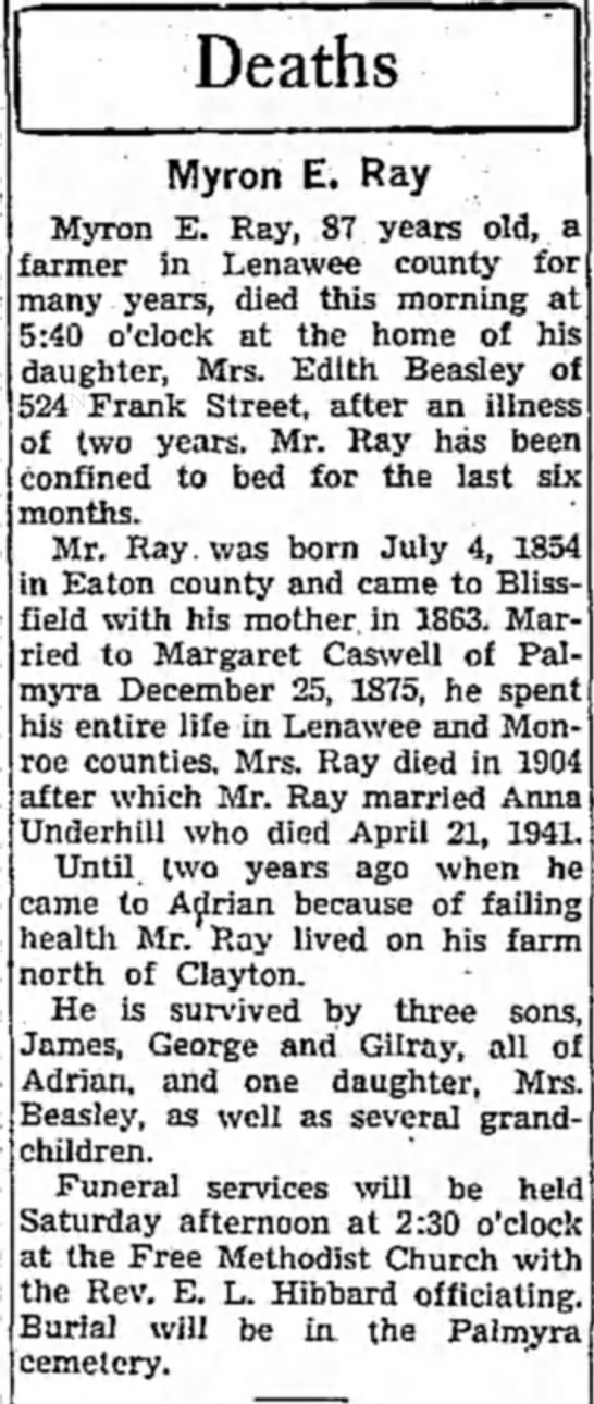 Myron E Ray - Deaths Myron E. Ray Myron E. Ray, 87 years old,...