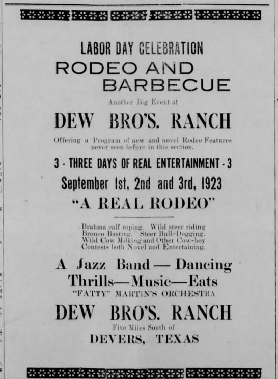 Dew Bros Rodeo and Barbecue 1923 - LABOR DAY CÉLÉBRATION RODEO AND BARBECUE DEW...