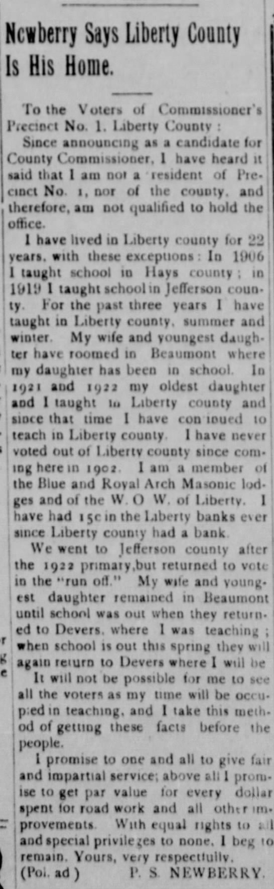 P.S. Newberry Political Ad - 1924 - j Newberry Says Liberty County Is His Home. To...