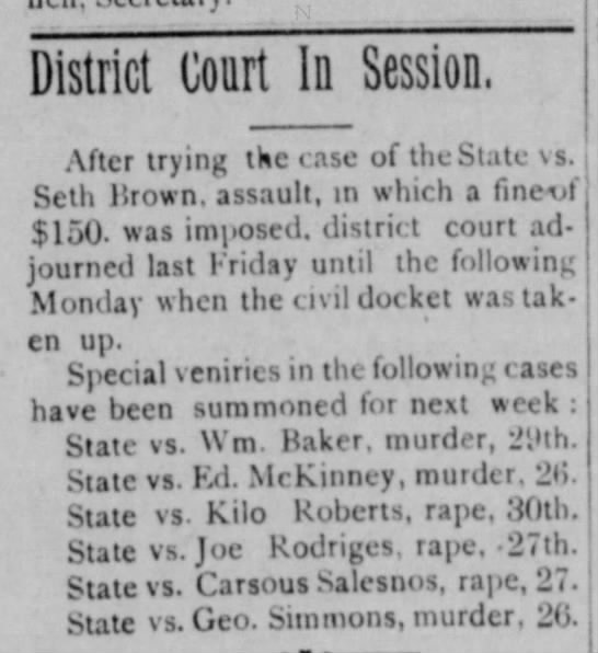 Seth Brown fined for assault - 1907 - District coart In Session, .\fter trying the...