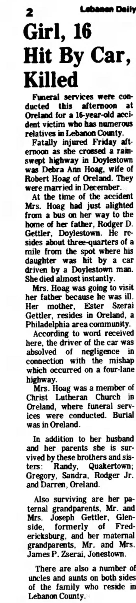 DEBRA ANN HOAG - Daily Girl, 16 Hit By Car, Killed Funeral...