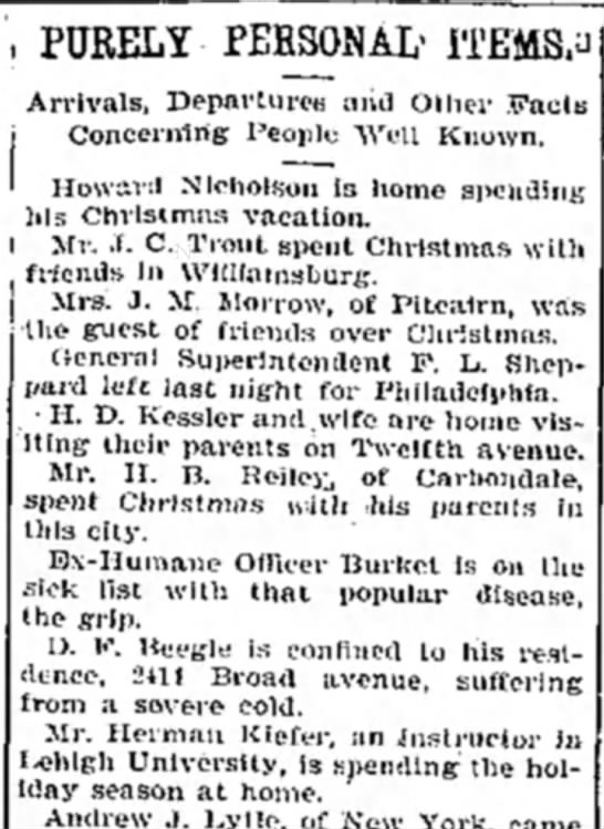"HermanKiefer12/27/1898 - , PURELY PEBSONAL' ITEMS."" Arrivals, Departures..."