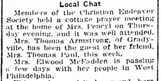mrs thomas armsstrong - Local Chat Members of the Christian Endeavor...